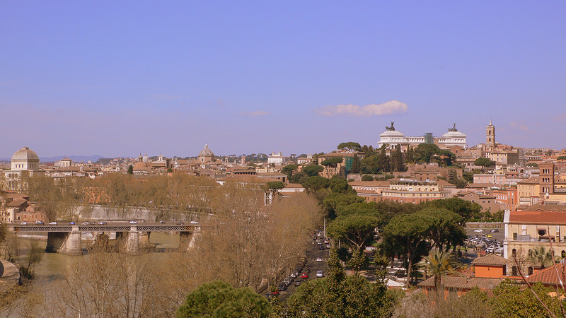 "A view of the Tiber and ""the typewriter"" seen from Giardino degli Aranci‎."