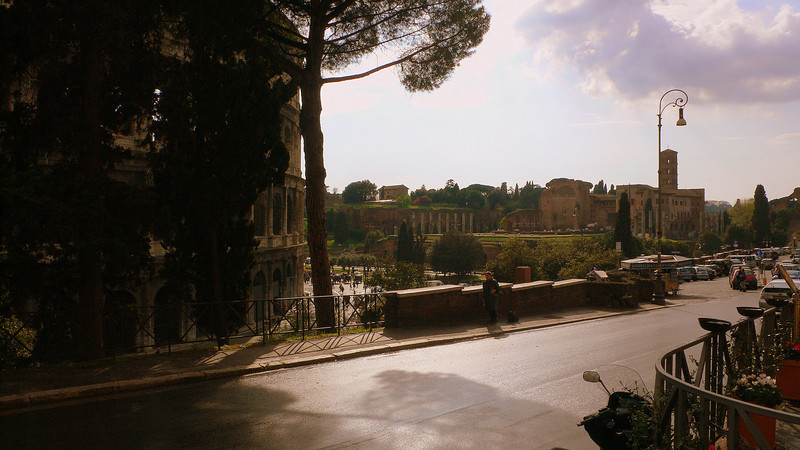 A view of the Coliseum seen from the neighbouring Via Nicola Santi, a sloping street leading to Trajan's park.