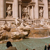 The Fontana di Trevi, designed by Nicola Salvi. Work started in 1732 on the construction of this fountain, and Salvi died in 1751 before the completion of the fountain. Giuseppe Pannini completed the building of the fountain in 1762. The fountains are packed with tourists, and it's hard to find a spot to sit and admire the Baroque masterpiece.