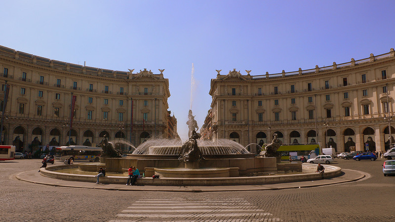 The Fountain of the Naiads at the Piazza della Republica completed in 1888. Behind it are the crescent-shaped porticos designed by Gaetano Koch which were built between 1887-1898.