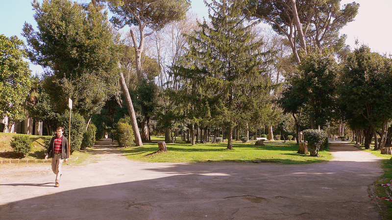 A small park at the Piazza dei Santi Giovanni e Paolo
