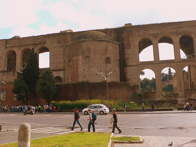 The ruins of the Basilica di Massenzio, a gigantic meeting hall built by the emperor Maxentius around 300 AD. Like the Coliseum, its marble and stucco decorations were plundered to make other buildings in Rome.