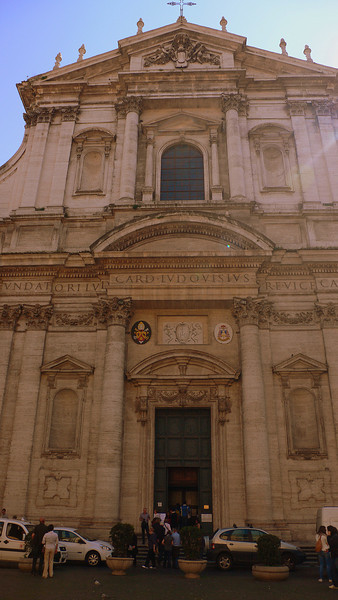 The facade of the church of Saint Ignatius of Loyola. on the Via del Seminario, dedicated to Ignatius of Loyola, the founder of the Jesuit order.