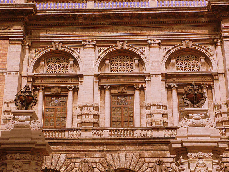 The windows of the Rose Palace on the Via Boncompagni.
