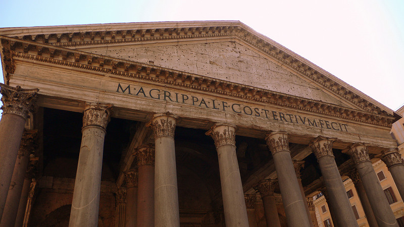 The entrance to the Pantheon commissed by Marcus Agrippa as a temple to all the gods of Rome.