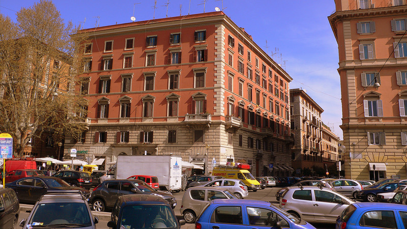Roman Streetscapes: Blocks of apartments with TV antennas lining the roofs, streets crammed with compact cars, the occasional balcony on an apartment, and a gelateria every 100 meters.