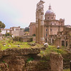 A stretch of ruins on the Via dei Fori Imperialli, amongst which is the Forum of Caesar. Built by Julius Caesar to commemorate his achievements, he would have the Senate meet in front of his temple. His hubris was frowned upon by most members of the Senate, resulting in his eventual assasination.