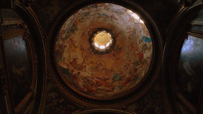 Frescos line the cuppola of the church of Saint Ignatius of Loyola.