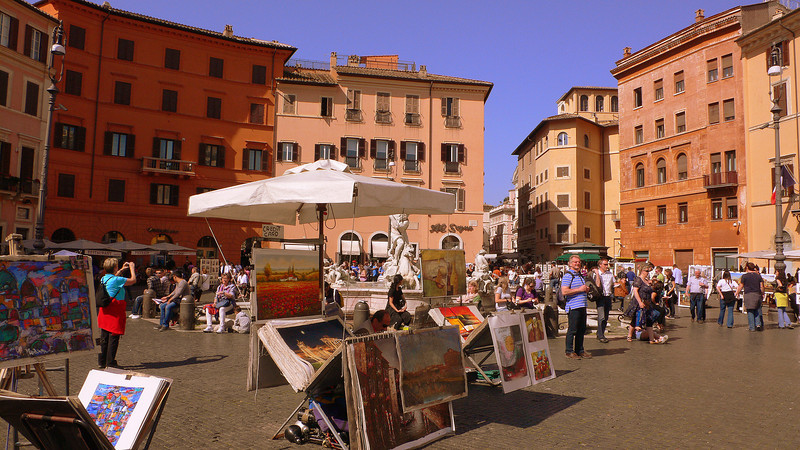 Paintings being sold on the Piazza Navona. Most of the paintings seemed very similar, and seem to have been mass produced for tourists.