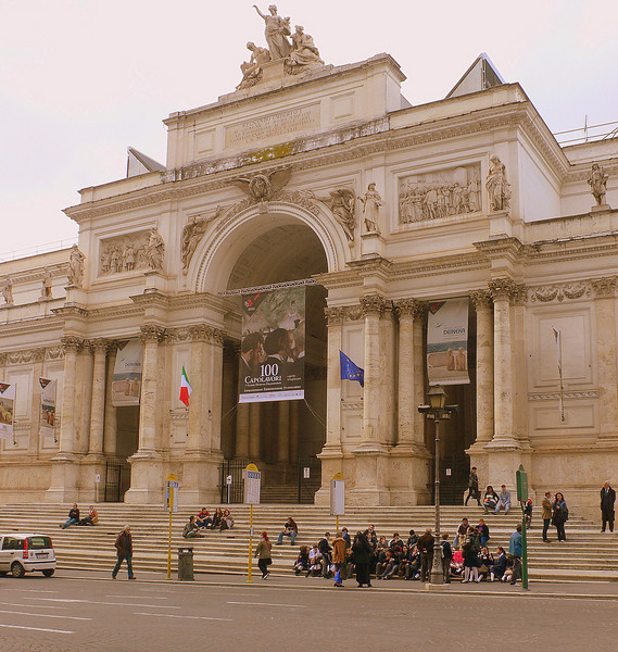 The Palazzo delle Esposizioni on the Via Nazionale designed by Pio Piacentini in the late 19th century. It is used today as an exhibition hall, cultural center, and museum.