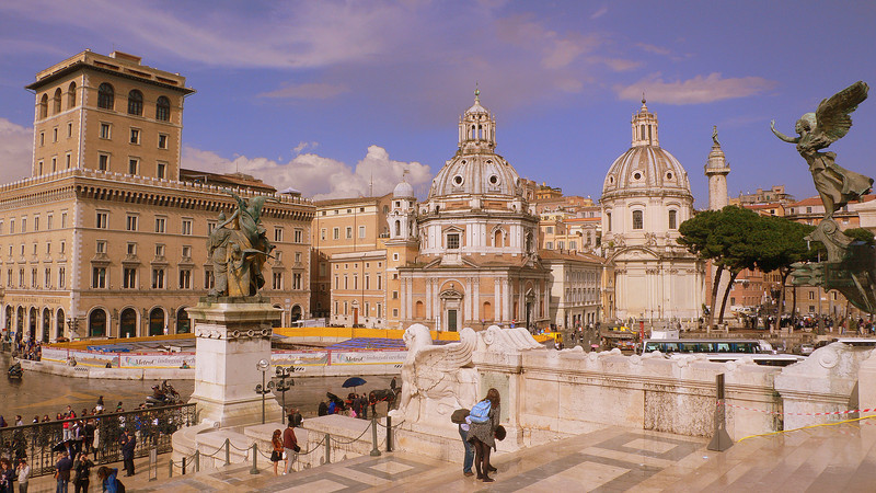 A view from the Altare della Patria. Framed in the center is the Chiesa del Santissimo Nome di Maria al Foro Traiano, a church built in the 17th century where we waited out a furious spring shower.