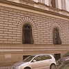 Sliced pear-shaped window grills on the Piazza del Indipendenza