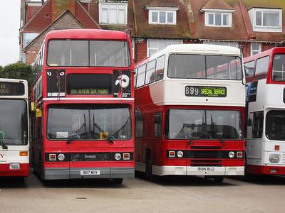 Titan B87WUV and Olympian B194BLG - Seaton depot - 28.11.09