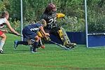 Nikki and the Tabor Goalie battle it out, shot goes wide.
