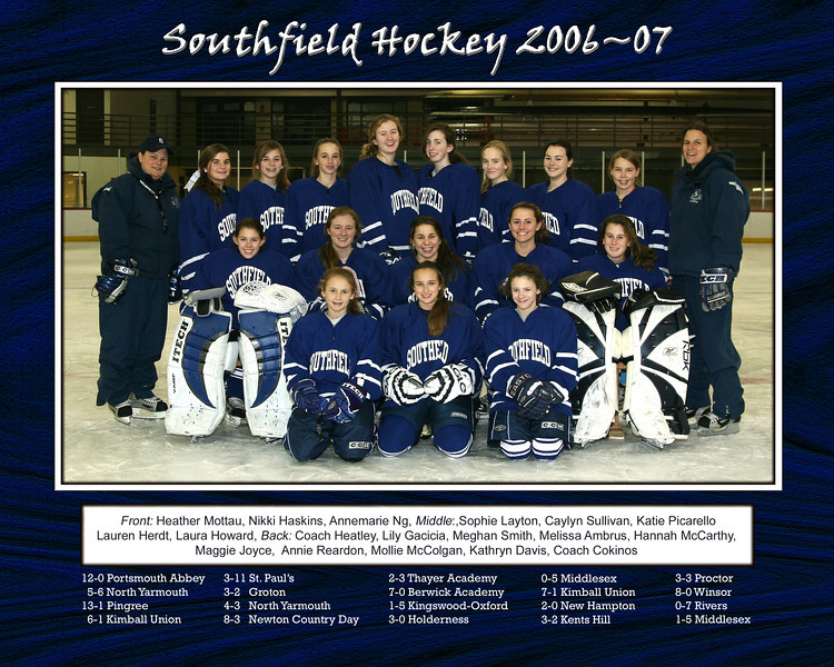Southfield Varsity Hockey 2006-2007<br /> Team Picture with game scores