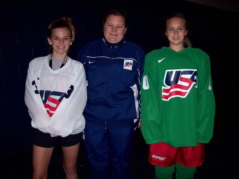 Meghan, Coach Heatley and Nikki @ U14 National Camp Rochester NY July 2006
