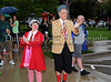 Slappy and Monday warm up prior to the North Texas Walk for PKD on a wet Saturday morning at Southlake Town Square.