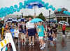 The start of the children's walk portion of the North Texas Walk for PKD on a wet Saturday morning at Southlake Town Square.