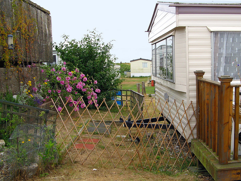Back at the caravan, and Cath's piece of garden in 2010
