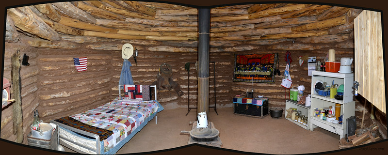 Canyon de Chelly National Monument in Chinle, Arizona - example of inside of hogan at the Ranger's station