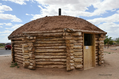 Canyon de Chelly National Monument in Chinle, Arizona - example of hogan at the Ranger's station