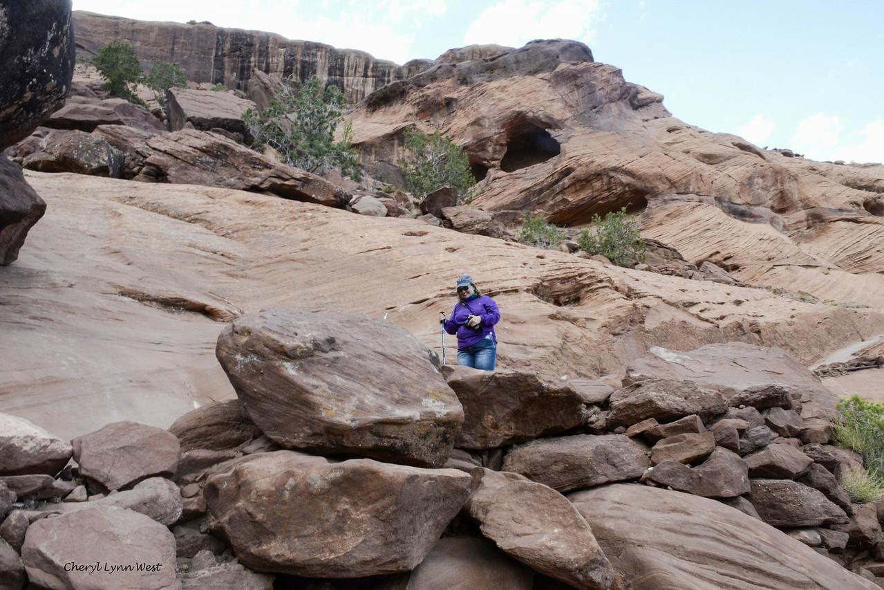 Canyon de Chelly, Arizona - Laura making her way down