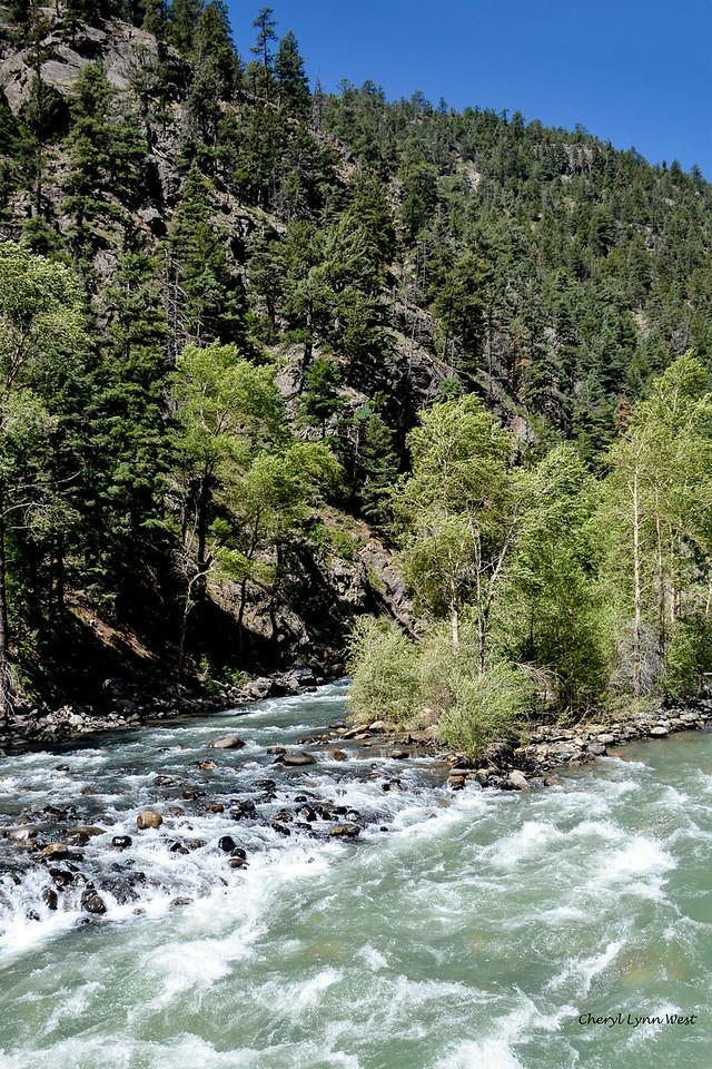 Durango & Silverton Narrow Gauge Railroad, Colorado - Animas River at Cascade Canyon Wey