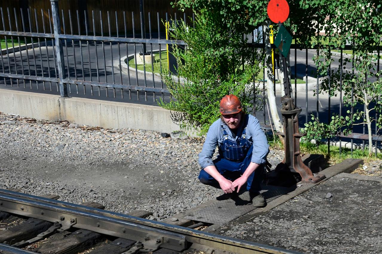 Durango & Silverton Narrow Gauge Railroad, Colorado - Railroad worker as we left the station