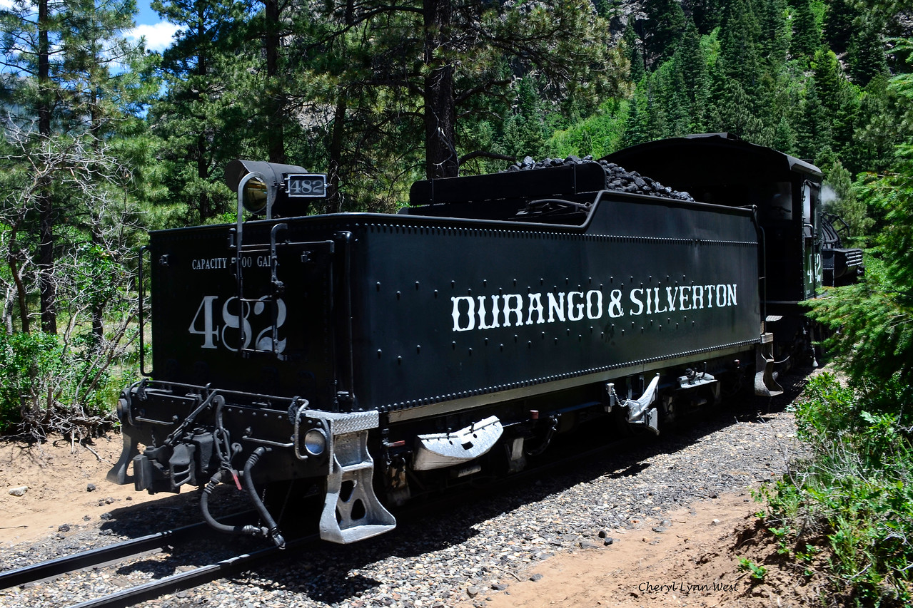 Durango & Silverton Narrow Gauge Railroad, Colorado - Engine uncoupled from passenger cars, after the engine blew a valve