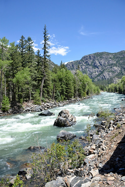 Durango & Silverton Narrow Gauge Railroad, Colorado - Animas River at Cascade Canyon Wey