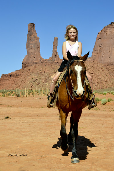 Angelina riding one of the Native American horses at John Ford's Point, Monument Valley, Arizona