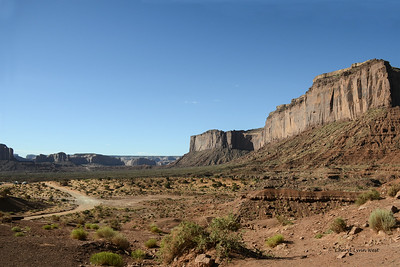 Monument Valley, Arizona - Driving on the dirt road around some of the monuments