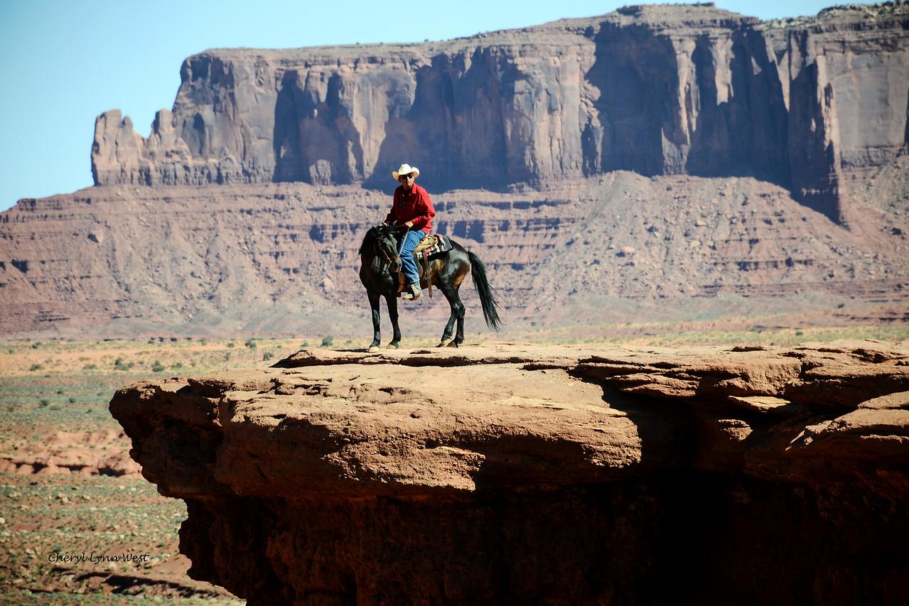 Navajo rider on John Ford's Point, Monument Valley, Arizona