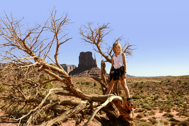 West Mitten, Monument Valley, Arizona, with Angelina posing for us