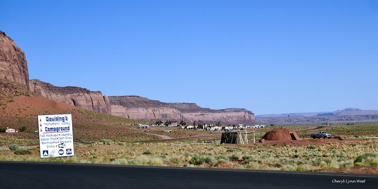 Hogan and road near Goulding Lodge, Utah