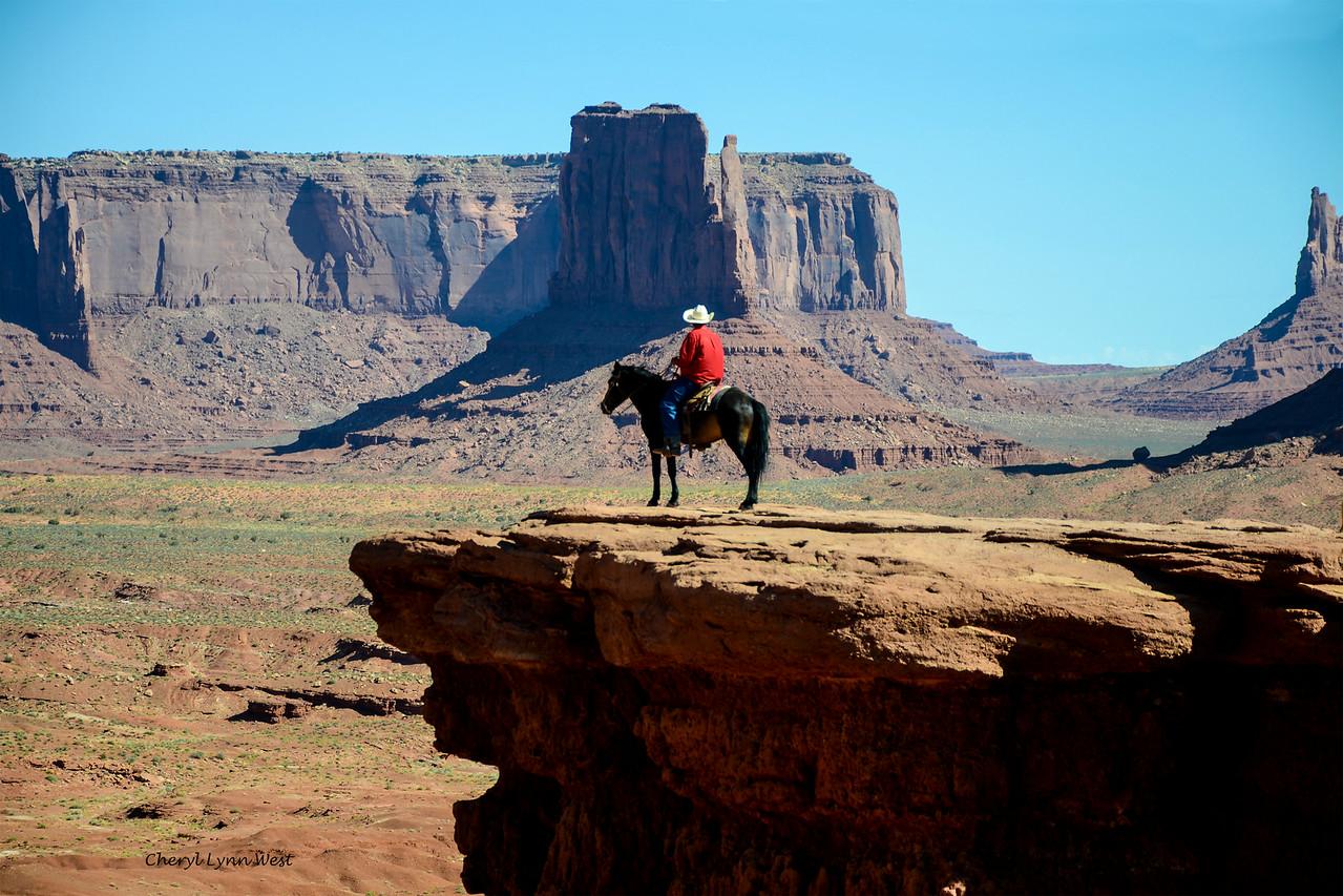 Navajo horseman on John Ford Point, in Monument Valley, Arizona
