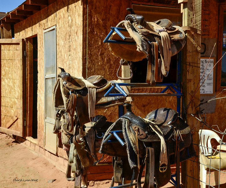 Saddles at the corral near John Ford's Point, Monument Valley, Arizona