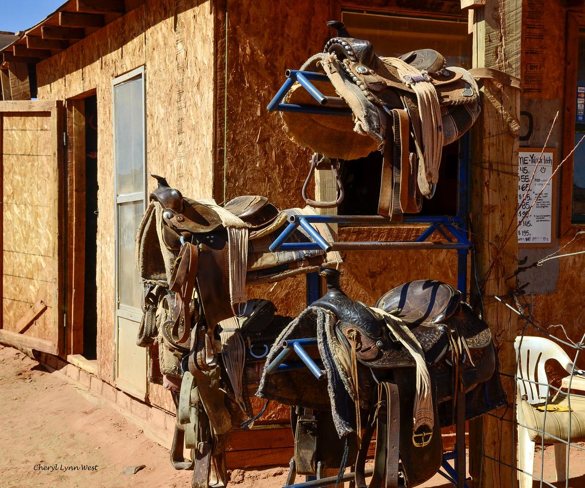 Saddles at the corral near John Ford's Point, Monument Valley, Arizona