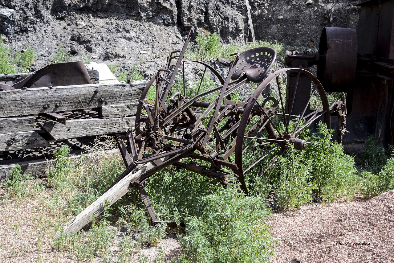 Madrid, New Mexico - Farming equipment behind the Madrid Old Coal Town Museum