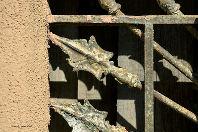 Cerrillos, New Mexico - Ironwork on a wall on the main street through town