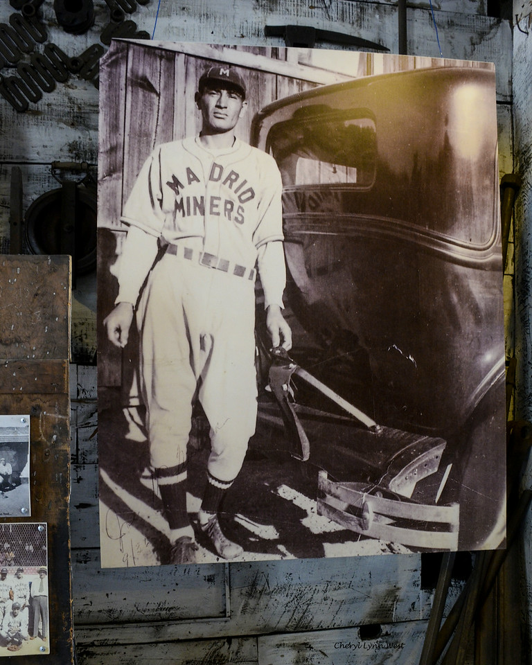 Madrid, New Mexico - Poster of African-American ball player. The Madrid Miners AA Minor League Baseball Team was started by the Madrid Employees Club and won many pennants.