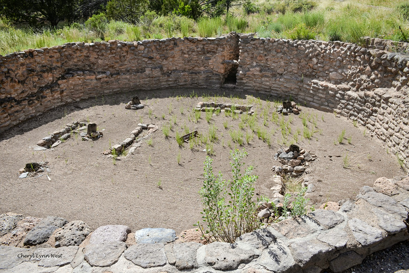 Bandelier National Monument, Los Alamos, New Mexico - Remains of Kiva, ceremonial building