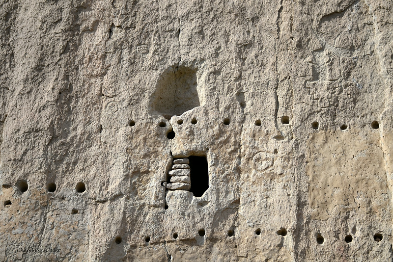 Bandelier National Monument, Los Alamos, New Mexico - symbols in side of the cliff