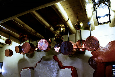 Santa Fe, New Mexico - hanging pots at the French Bakery at the La Fonda Hotel
