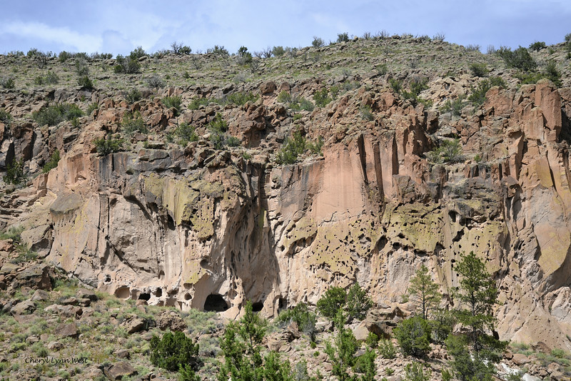 Bandelier National Monument, Los Alamos, New Mexico - can see some of the openings in the rocks which were used for shelter
