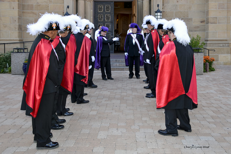 Santa Fe, New Mexico - Knights of Columbus, preparing for an ordination ceremony at the Cathedral Basilica of St. Francis of Assisi