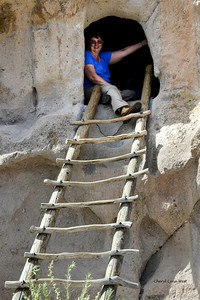 Bandelier National Monument, Los Alamos, New Mexico - I climbed up the handmade wooden ladder, into one of the cliff dwellings of the ancestral Pueblo people.