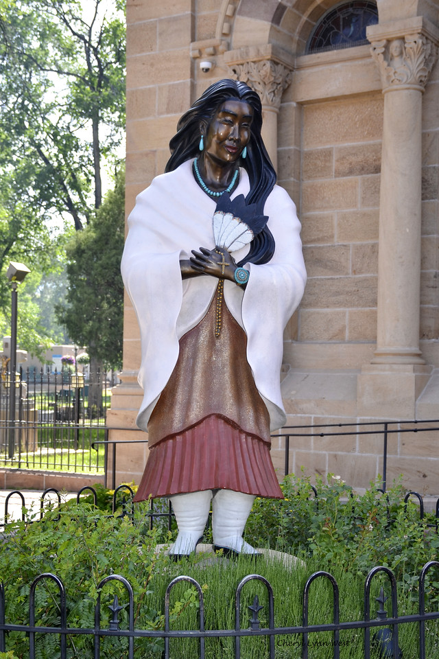 Santa Fe, New Mexico - Statue of Native American woman at the Cathedral Basilica of St. Francis of Assisi