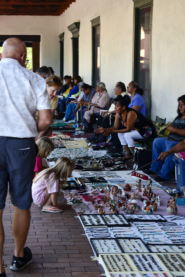 Santa Fe, New Mexico - Native Americans selling jewelry and other items on the sidewalks near the Plaza