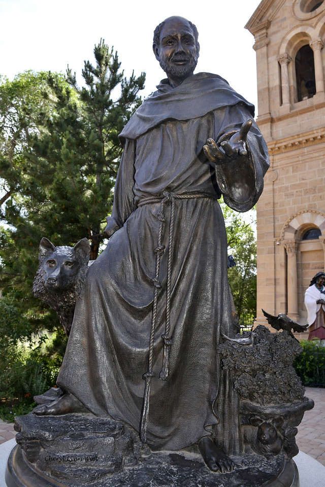 Santa Fe, New Mexico - Statue of St. Francis, the patron saint of New Mexico at the Cathedral Basilica of St. Francis of Assisi
